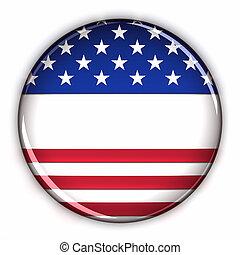 patriótico, botón, blanco