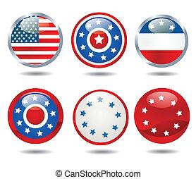 patriótico, botões