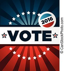 patriótico, cartaz, 2016, votando