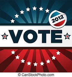patriótico, cartel, votación