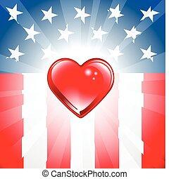 patriótico, corazón, plano de fondo