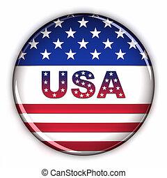 patriótico, eua, botão