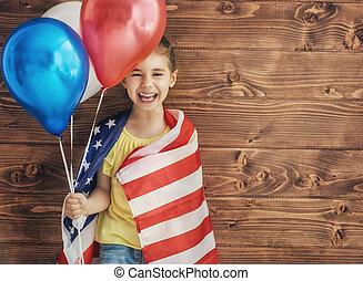 patriótico, feriado, y, feliz, niño