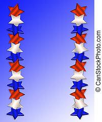 patriótico, frontera, estrellas, 3d