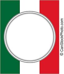 patriótico, frontera italiana, redondo, frame.