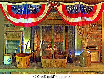 patriótico, hogar, escena