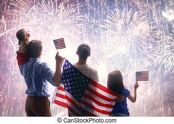 patriótico, holiday., familia , feliz