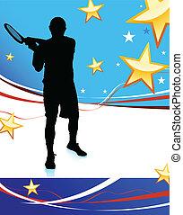 patriótico, jugador, resumen, tenis, plano de fondo