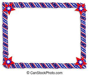 patriótico, listras estrelas, borda