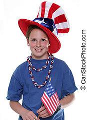 patriótico, menina jovem, com, bandeira