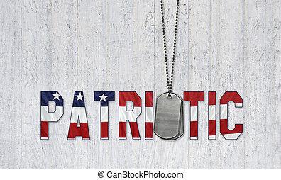 patriótico, militar, cão, etiquetas