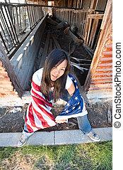 patriótico, mujer, asiático