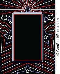 patriótico, néon, vertical, sinal
