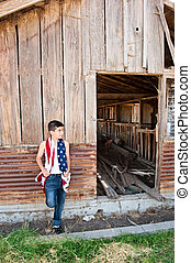 patriótico, niño, viejo, granero