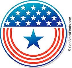 patriótico, norteamericano, botón, rayas, estrellas