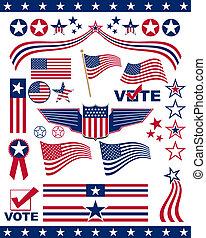 patriótico, norteamericano, elementos