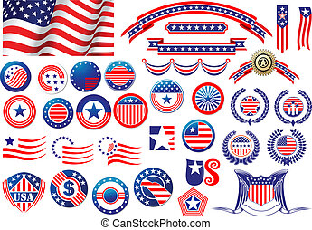 patriótico, norteamericano, etiquetas, insignias