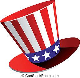 patriótico, norteamericano, sombrero, cima