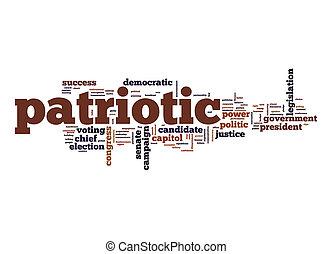 patriótico, palavra, nuvem