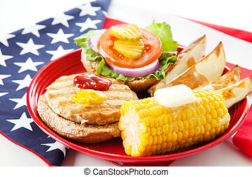 patriótico, peru, americano, hambúrguer