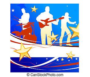 patriótico, plano de fondo, cinta musical