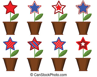 patriótico, pots., flores