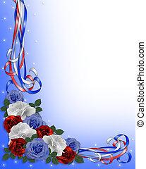 patriótico, rosas, frontera, boda