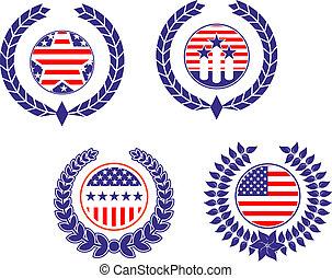 patriótico, símbolos, americano