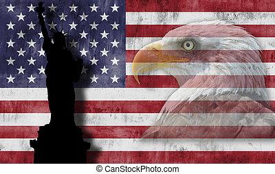 patriótico, símbolos, bandera estadounidense