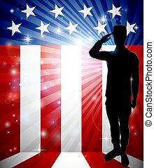 patriótico, soldado, saludar, bandera estadounidense