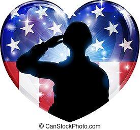 patriótico, soldado, saludar, bandera estadounidense, corazón