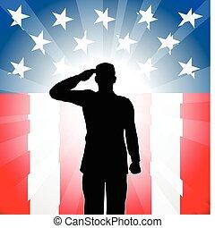 patriótico, soldado, saludo