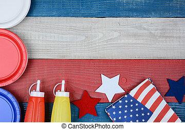 patriótico, tabla, feriado, picnic