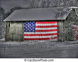 patriótico, viejo, granero