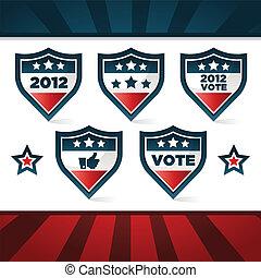 patriótico, votando, escudos