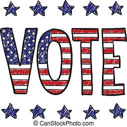 patriótico, voto, esboço
