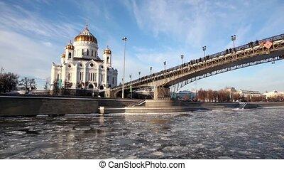 patriarchal, brug, winter, redder, kathedraal, christus