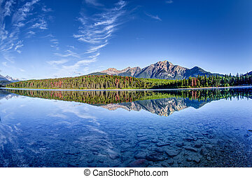 Colorful trees lined the shores of Patricia Lake at Jasper National Park with Pyramid Mountain in the background. The calm lake reflects a mirror image of the mountains and trees.