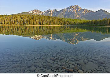 Beautiful Patrica Lake just after sunrise, Jasper National Park, Alberta, Canada