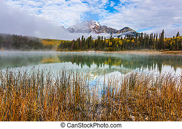 Patricia Lake reflects the Pyramid Mountain - The concept of...