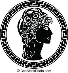 patrician, stencilera, svart, kvinnor