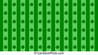Patrick Day background with falling shamrock leaf pattern. For festive pub party. 3d render, loop 4k