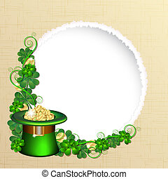 Patrick day background with gold coins and leprechaun hat