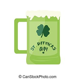 Patrick day beer with a clover
