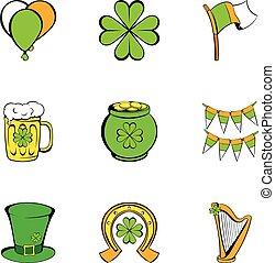 Patrick day icons set, cartoon style