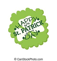 Patrick day label with a clover