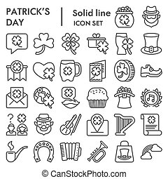 Patrick day line icon set. Saint Patricks symbols collection, logo illustrations, sketches. Leprechaun signs for web, outline style pictogram package isolated on white background. Vector graphics.