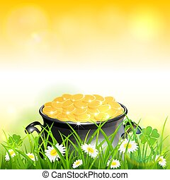 Patrick Day on Yellow Nature Background with Leprechauns Gold