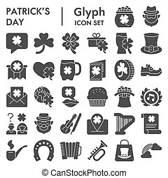 Patrick day solid icon set. Saint Patricks symbols collection, logo illustrations, sketches. Leprechaun signs for web, glyph style pictogram package isolated on white background. Vector graphics.