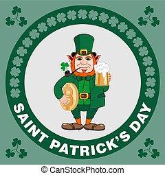 patrick, flyer., birra, bitcoin, tubo, s, tazza, santo, festa, gnomo, giorno, fumo